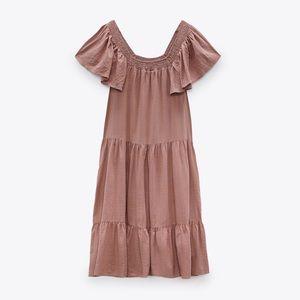Zara Midi Dress With Ruffles L Faded Pink